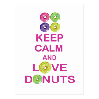 Keep Calm and Love Donuts Unique Doughnut Gift Postcard