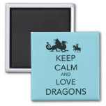 Keep Calm and Love Dragons Unique Print on Blue