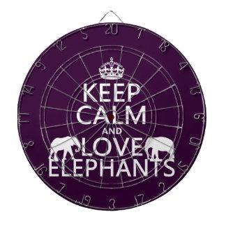 Keep Calm and Love Elephants (any color) Dartboard
