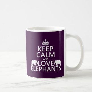 Keep Calm and Love Elephants (any colour) Basic White Mug