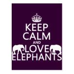 Keep Calm and Love Elephants (any colour) Post Cards