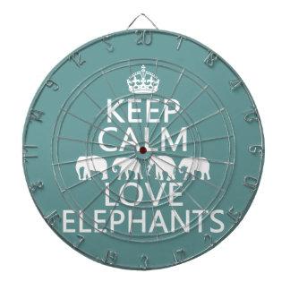 Keep Calm and Love Elephants (customizable colors) Dartboard