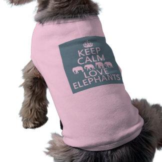 Keep Calm and Love Elephants (customizable colors) Shirt