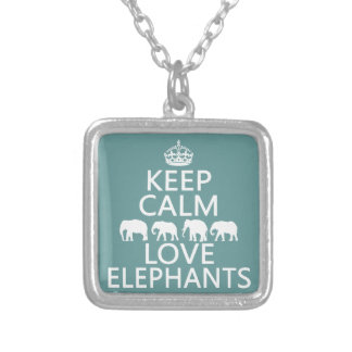 Keep Calm and Love Elephants (customizable colors) Silver Plated Necklace