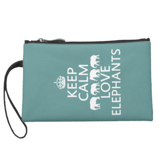 Keep Calm and Love Elephants (customizable colors) Suede Wristlet