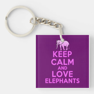 Keep Calm and Love Elephants Double-Sided Square Acrylic Key Ring