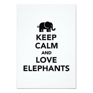 Keep calm and love elephants invitation