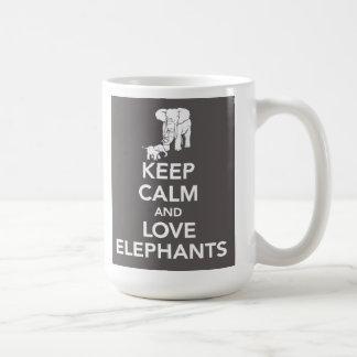 Keep Calm and Love elephants mug
