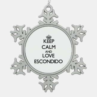 Keep Calm and love Escondido Snowflake Pewter Christmas Ornament