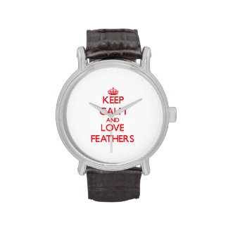 Keep calm and love Feathers Wristwatches