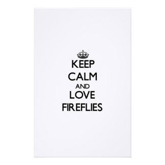 Keep calm and Love Fireflies Customized Stationery