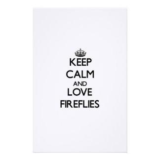 Keep calm and Love Fireflies Customized Stationery