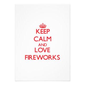 Keep calm and love Fireworks Custom Invite