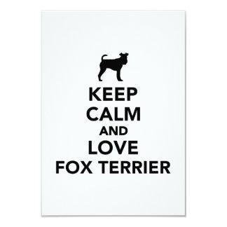 Keep calm and love Fox Terrier 3.5x5 Paper Invitation Card