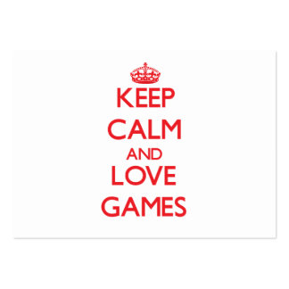 Keep calm and love Games Business Card Templates