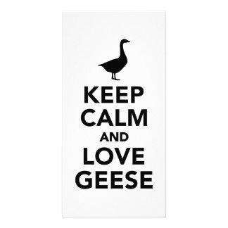 Keep calm and love geese customized photo card