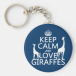 Keep Calm and Love Giraffes - all colours Basic Round Button Key Ring