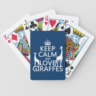 Keep Calm and Love Giraffes - all colours Bicycle Playing Cards