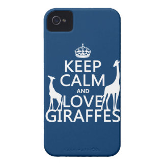 Keep Calm and Love Giraffes - all colours iPhone 4 Case-Mate Cases