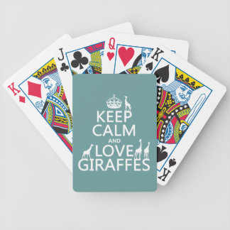 Keep Calm and Love Giraffes (any color) Bicycle Playing Cards