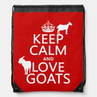 Keep Calm and Love Goats Drawstring Bag