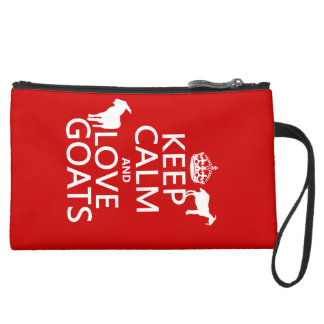 Keep Calm and Love Goats Suede Wristlet