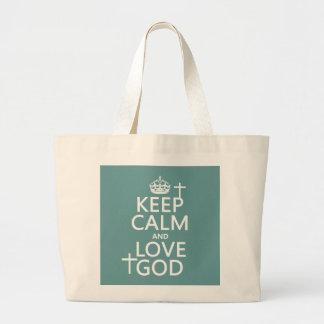 Keep Calm and Love God - all colors Jumbo Tote Bag