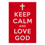 "Keep Calm and Love God Poster Red 24"" x 36"""