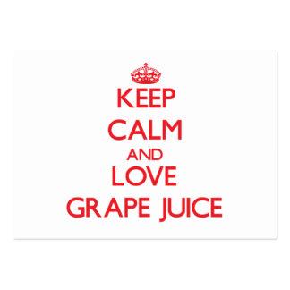 Keep calm and love Grape Juice Business Cards