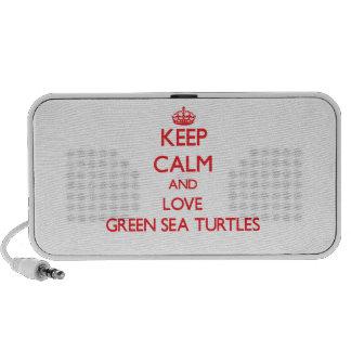 Keep calm and love Green Sea Turtles Travel Speaker