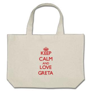 Keep Calm and Love Greta Canvas Bags