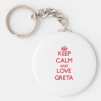 Keep Calm and Love Greta Basic Round Button Key Ring