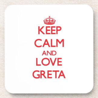 Keep Calm and Love Greta Drink Coasters