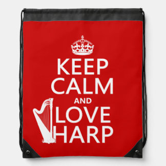Keep Calm and Love Harp (any background color) Drawstring Bag