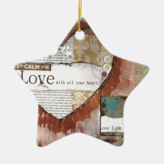 keep calm and love heart ceramic star decoration
