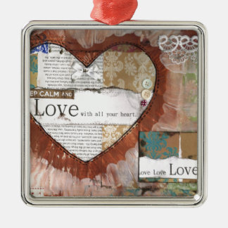 keep calm and love heart Silver-Colored square decoration