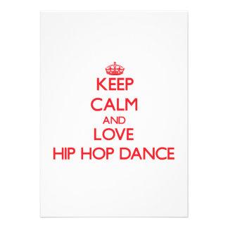 Keep calm and love Hip Hop Dance Custom Invites
