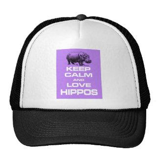 Keep Calm and Love Hippos Hippotamus Design Purple Cap