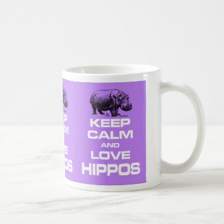 Keep Calm and Love Hippos Hippotamus Design Purple Coffee Mug