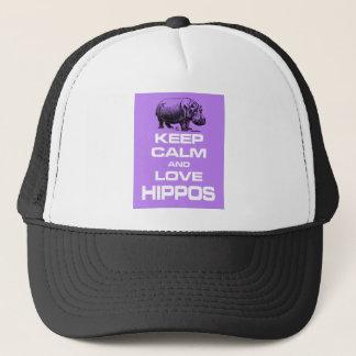 Keep Calm and Love Hippos Hippotamus Design Purple Trucker Hat