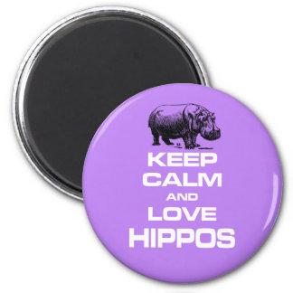 Keep Calm and Love Hippos Hippotamus Fun Design 6 Cm Round Magnet