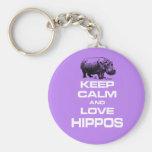 Keep Calm and Love Hippos Hippotamus Fun Design Basic Round Button Key Ring