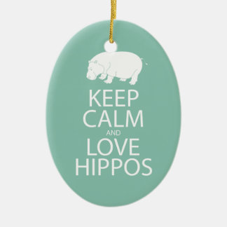 Keep Calm and Love Hippos Print Hippopotamus Ceramic Oval Decoration