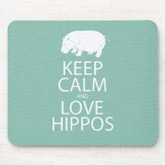 Keep Calm and Love Hippos Print Hippopotamus Mouse Mat