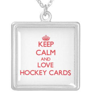 Keep calm and love Hockey Cards Pendants
