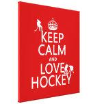 Keep Calm and Love Hockey (customise colour) Canvas Print