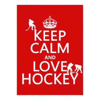 Keep Calm and Love Hockey (customize color) 14 Cm X 19 Cm Invitation Card