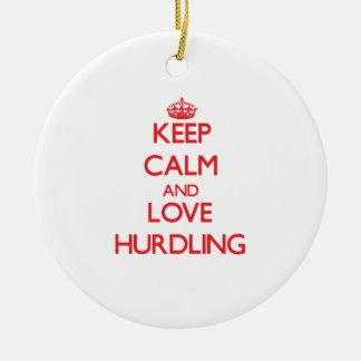 Keep calm and love Hurdling Christmas Ornaments
