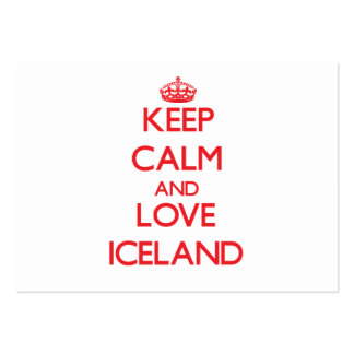 Keep Calm and Love Iceland Large Business Cards (Pack Of 100)