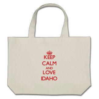 Keep Calm and Love Idaho Tote Bags
